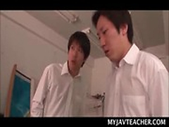 Shy Asian school teacher gangbanged by force by horny students