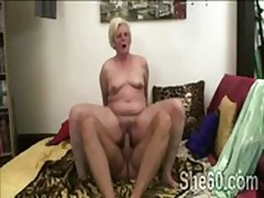 Filthy blond granny gets her snatch pumped by young dick
