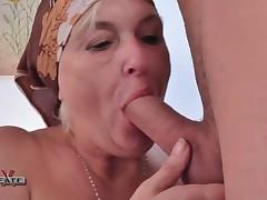 BBW Granny Sucks & Fucks