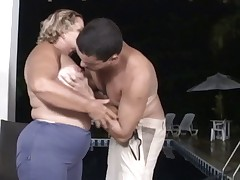 Pool boy butt fucks a big granny
