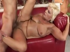 Fair-haired granny fucks intense in rub-down the first place rub-down the phrase