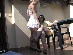 Hot blonde daughter fuck older chubby lesbian