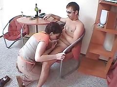 Full-grown Russian body of men plus young man