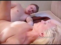 Hot Russian mother fucking with her young son on bed