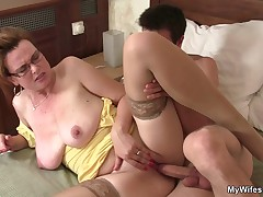 Cock hungry mom spreads her legs for son in law