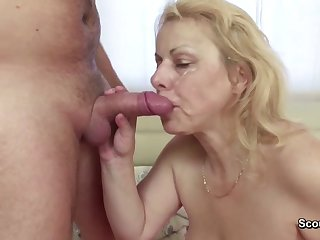 Mommy Seduce her boy  to do Blowjob