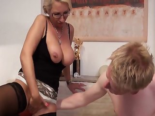 Blond german mother do it with young guy