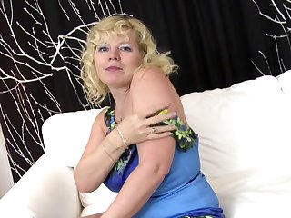 Blonde mature mother sucked and fucked two young guys