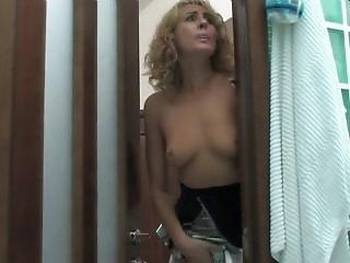 Slim russian milf Bridget fucks young guy in shower