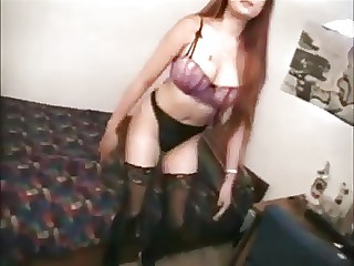 Consistent lady from China uses a white dick