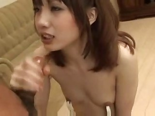 Asian Teen Wearing Nipple Clamps Gives Oral