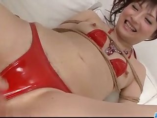 Babe in red lingerie, Rika Sonohara, made to swallow