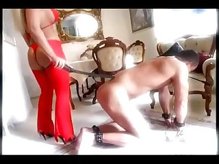 Busty lady spanking her slave