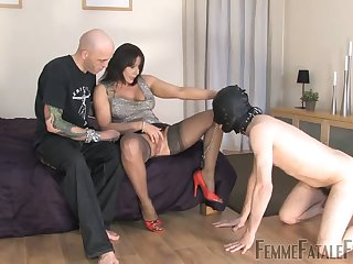 Cuckolding action with masked slave