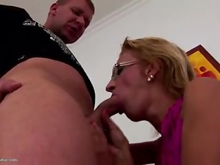 Mature sex bomb mother inseminated by young boy