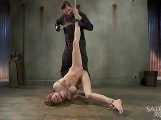 Fucking up Rain DeGrey with avid bondage and brutal torment