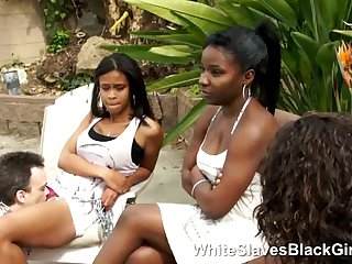 Ebony Babes using a new white slave