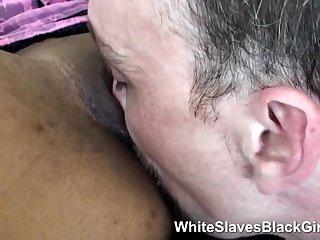 White sub gives black femdom oral