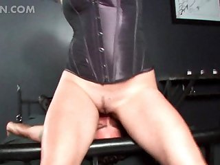Male sex slave face sat and cock tortured