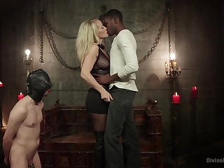 Mrs. S cuckolds her slave with big black alpha cock