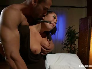 Asian Massage worker gets tied up