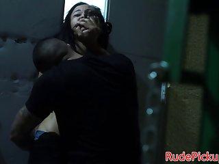 Stranded ebony babe hardfucked in public