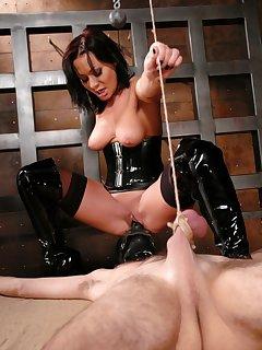 12 of Mistress Sandra Romain fucks slave boy