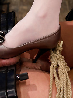 12 of Man's dick and balls squashed and made lick Mistress's ass