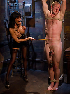 12 of Crazy couple likes BDSM with dick pinching and dildo fuck
