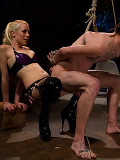 12 of Perverted blonde with strap-on likes her slave feel humiliation