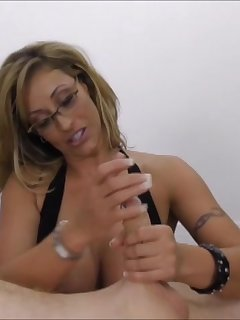 6 of Eva Notty pumped the cock in the middle of her big boobs