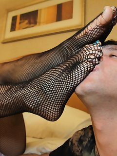 12 of Cheyenne getting her stockings worshipped at her bedside