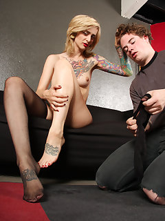 12 of Manchester gags her stockings on slave's mouth