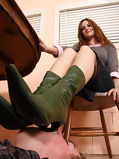 <!–-IMAGE_COUNT-–> of Licking Jennifer's boots under her table
