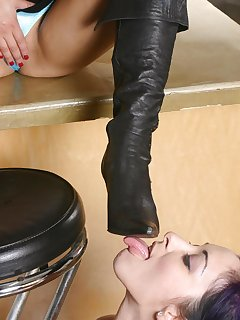10 of Slavegirl licking boots