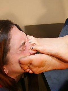 12 of Mistress humiliating slavegirl by feet