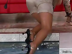 Horny blonde and redhead lesbians get horny