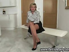 Hot Brit fetish Lady Sonia in stockings masturbates