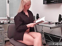 Blonde office babe loves to tease a lot